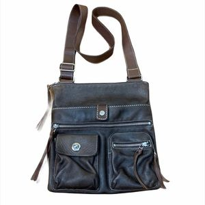 Roots Venetian Village Tribe Brown Leather Purse